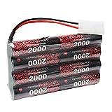 ENRICHPOWER FCONEGY NiMH Batterie récepteur 9.6V 2000mAh avec connecteur Tamiya Receiver RX Battery Rechargeable pour récepteurs RC Voiture / Bateau / Camion / Avions / Hélicoptère