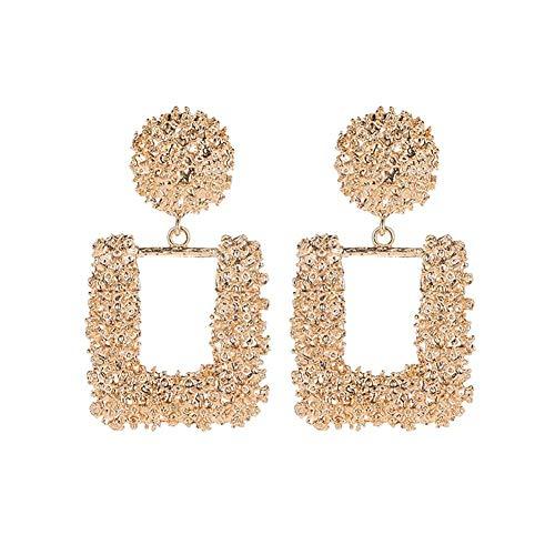 Wedsd Pendientes de aleación Pendientes largos para mujer 1 par de pendientes cuadrados grandes de metal geométrico, regalos de joyería para madre y novia