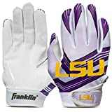 Franklin Sports LSU Youth College Football Receiver Gloves - Receiver Gloves for Kids - NCAA Team Logos and Silicone Palm - Youth S/XS Pair