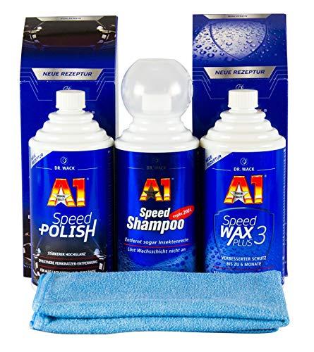 Dr. Wack A1 Speed Polish Politur & Speed Wax Plus 3 & Shampoo & Mikrofasertuch