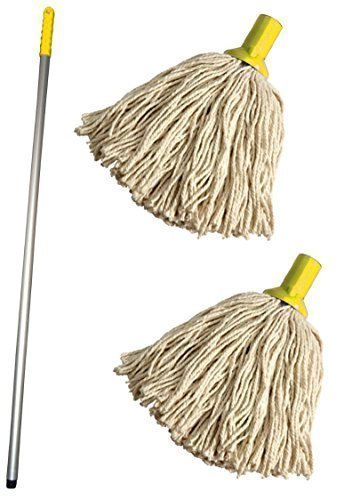 Discounted Cleaning Supplies Professional Colour Coded Mop Handle and 2 Mop...