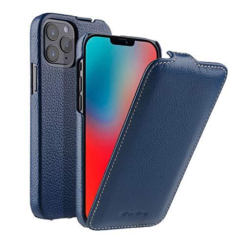 MELCKO Hülle passend für Apple iPhone 12 & iPhone 12 PRO (6,1 Zoll), Handyhülle mit beschichtetem Leder, Flip-Hülle, Schutzhülle klappbar, dünne Handy-Tasche, Slim Cover, Blau