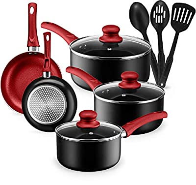 Kitchen Cookware Set, 11 Piece Pots and Pans Set for Cooking Nonstick, Dishwasher Safe Cooking Utensils Set by Halter (Red)