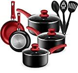 Kitchen Cookware Set, 11 Piece Pots and Pans Set for Cooking Nonstick, Dishwasher Safe Cooking Utensils Set by Halter...