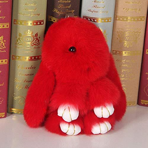 SILENCE Conejo Peluche Juguete de Peluche Muñeca Amante Amigo Lindo Conejo Colgante Bolsa Joyería-15Cm_Rojo