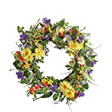 Collections Etc Wild Daisy Floral Twig Door Wreath, 19 1/2' Diameter - Home Décor for Any Room