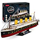 3D Puzzle Titanic LED Ship 34.6'' Large Model Kits Gifts for Men Women Adults and Kids Paper Watercraft Huge 3D Model Jigsaw Puzzles Collection Valentines Gift, 266 Pieces