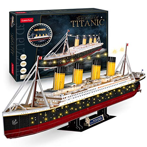 3D Puzzle LED Titanic 35'' Large Ship Model Kits Watercraft 266 Pieces, 3D Puzzles for Adults Titanic Model Anniversary Wedding Gifts for Couple Long Distance Relationships Gifts Valentines Gift