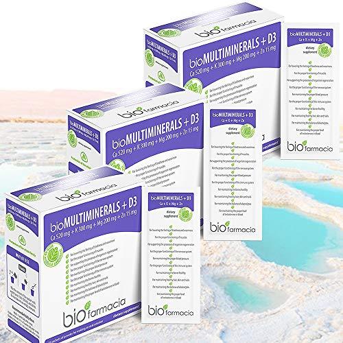Calcium Magnesium Potassium Zinc and Vitamin D3 | Calcium Citrate 520mg | Magnesium Citrate 200mg | Potassium Citrate 300mg | Zinc Citrate 15mg | Premium Food Supplement – 28 sachets | Pack of 3