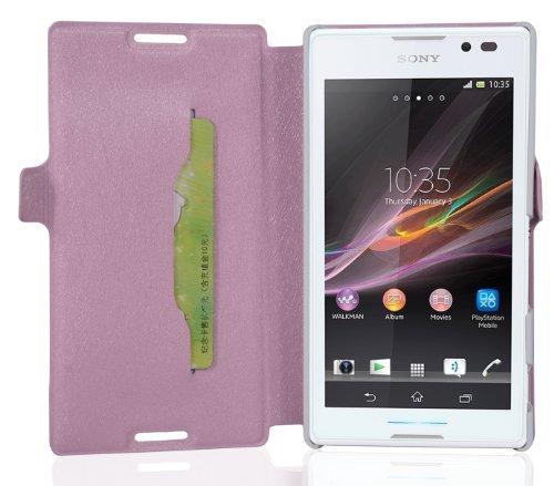 Preisvergleich Produktbild Cadorabo Hülle für Sony Xperia C - Hülle in ICY Rose Handyhülle mit Standfunktion und Kartenfach im Ultra Slim Design - Case Cover Schutzhülle Etui Tasche Book