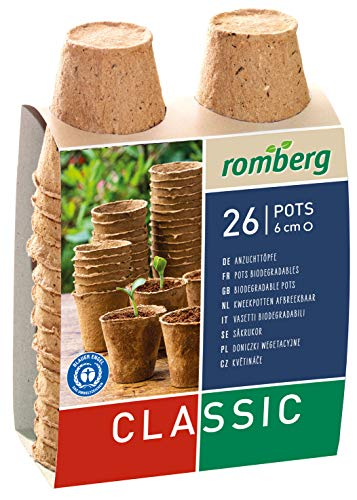 Romberg 10091100 Kokos Anzuchttöpfe (Pflanztöpfe) Classic - 6 cm, rund, torffrei, biologisch abbaubar, 26 Stück
