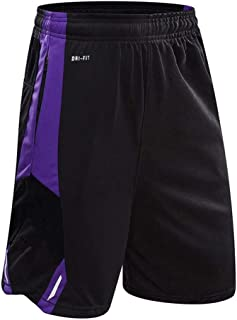 Mens Athletic Running Quick-Drying Breathable Basketball Loose Shorts with Zip Pockets