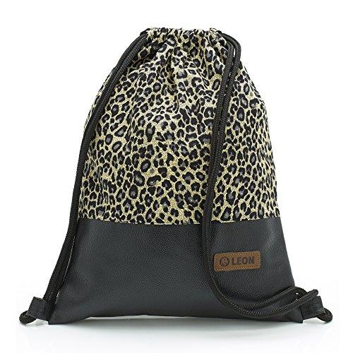 By Bers LEON Turnbeutel mit Innentaschen Rucksack Tasche Damen Herren & Teenager Gym bag Gym sack (Leopard_Schwarz)