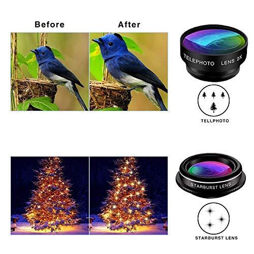 Phone Camera Lens Kit, 9 in 1 Zoom Universal Telephoto Lens+198° Fisheye lens + 0.36 Super Wide Angle Lens + 0.63X Wide Lens +20X Macro Lens + 15X Macro Lens + CPL + Kaleidoscope Lens + Starburst Lens