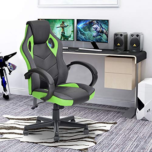 FurnitureR Silla de oficina Silla de juego de cuero para silla de ruedas, Silla de carreras ergonómica ajustable con respaldo alto,...