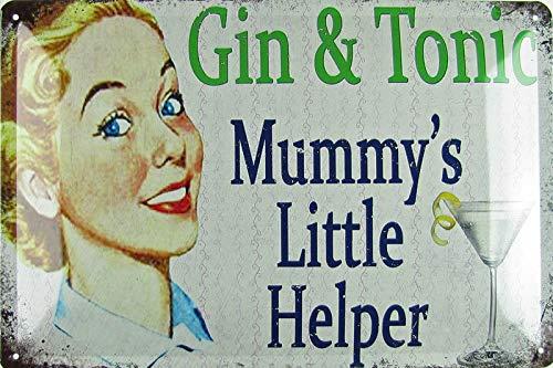Blechschild 20x30cm gewölbt Gin & Tonic Mummy´s Little Helper Vintage Deko Geschenk Schild Bar Retro