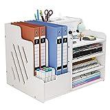 White Desktop Organiser, Large Capacity Desk File Organiser Office Stationery Desk Tidy Storage Rack Sorter for A4 Papers, Pens, Books, Letters and Documents (PB07)