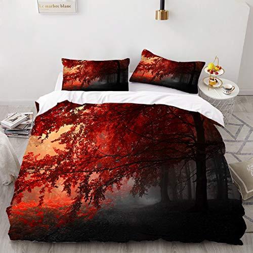HUIJIE 3 Teilig Bettwäsche Set,2/3 Stück Rot Ahorn Blatt Baum Bettwäsche Set 3D Print Bett Decke Landschaft Bett Set Bequem Für Kinder Bett Quilt Abdeckung Home Textil, Eu, Single (140X200Cm)