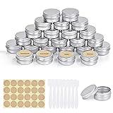 FORMIZON 24 Tarros de Aluminio Vacío, 20 ml Latas de Aluminio Vacías con Etiquetas y Mini...
