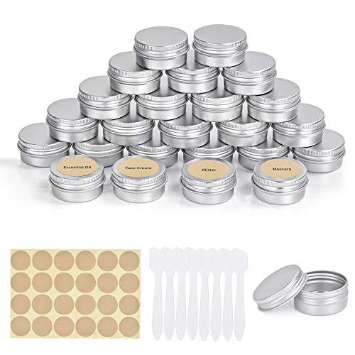 FORMIZON 24 Pezzi Vasetti Alluminio, 20 ml Barattoli di Latta in Alluminio con Copri di Vite e Etichette e Mini Spatola per Artigianato Balsamo Labbra Artigianato Cosmetici Candele