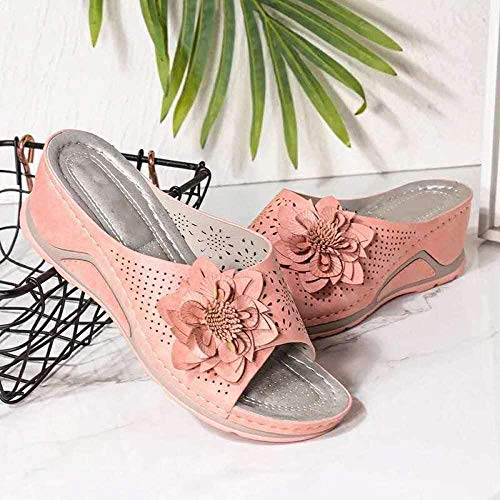 LLGG Sandalias De Ducha de Casa,Zapatillas de Flores Casuales, Pendiente con Zapatillas Huecas Transpirables-Rosa_38,Zapatillas de el hogar cómodas