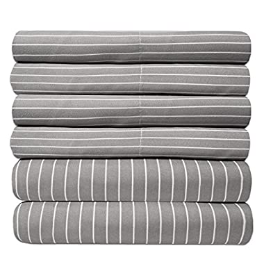 Sweet Home Collection 6 Piece 1500 Thread Count  Deep Pocket Bed Sheet Set - 2 Extra Pillow Cases, Great Value, Pinstripe Gray, Queen
