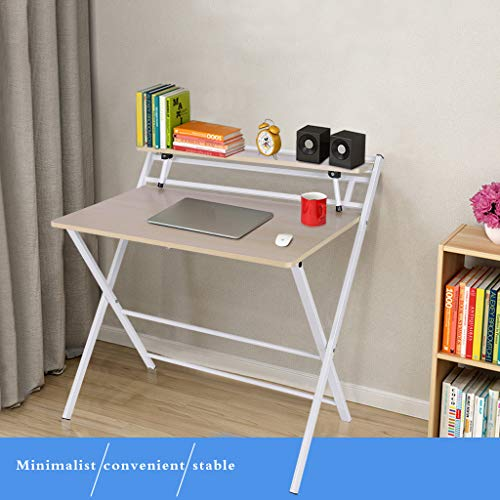 Computer Desk, Simple Folding Table, Small Home Office Desks, Study Writing Table with Shelf, School Writing Desk for Kids, Free Installation Portable Lazy Desk, (31.5 x 19.7 x 28.5 inches)