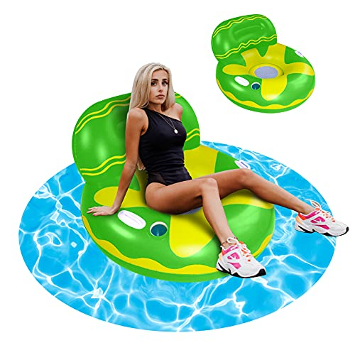 auryee Inflatable Pool Floats for Adults, Inflatable Floating Chair Pool Lounger for Swimming Pool Water Sofa with Deep Cup Holders, Swimming Pool Toy Recliner Pool Float with Mesh (Blue)