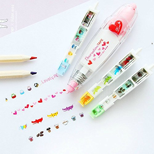 MengRan Correction Tape Set (add 3 Replaceable Cores) for School & Office Supplies, Lovely Kawaii Cute Creative Special Push-style design Correction Tape