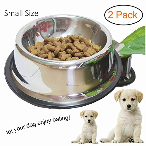 WHIPPY Stainless Steel Dog Bowl for Small,Medium,Large Pets (Silver, Set of 2)