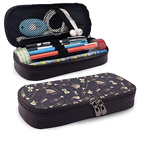 Estuche de cuero con combinación de instrumentos musicales retro de gran capacidad para estudiantes resistente al desgaste doble cremallera bolsa de papelería