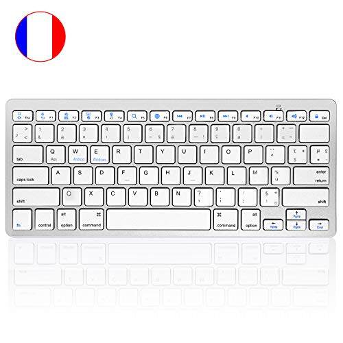 HANYEAL Slim Portable Wireless Keyboard for Laptop Tablet, Universal Wireless Bluetooth Keyboard with Quick Response Keys for iPad Mini, Air, Pro, New iPad, iPhone, Android Smartphone (White)
