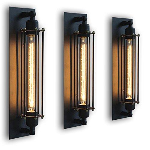 FLTRADE Wandlampen Edison Vintage Retro Metall Cafés Antike Wandleuchter Tube-Käfig Loft Beleuchtung warmweiß (T300)