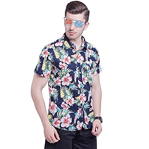 Camisa Hombre Casual Transpirable Creativo Único Estampado Botón De Solapa Hombres Manga Corta Vacaciones...