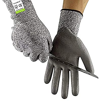 Work Gloves Women Cut Resistant Safety Gloves EN388 Certified for Gardening Cutting Slicing Kitchen Freezer Meal Prep Household Task Wood Carving, Waterproof Non Slip PU Coating Palms, Size 7/S