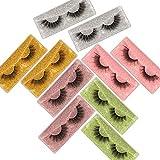 JIMIRE False Eyelashes 10 Pack 5 Styles Fluffy Natural Fake Lashes Bulk 3D Faux Mink Wispy Lashes Pack with 10 Portable Eyelash Boxes