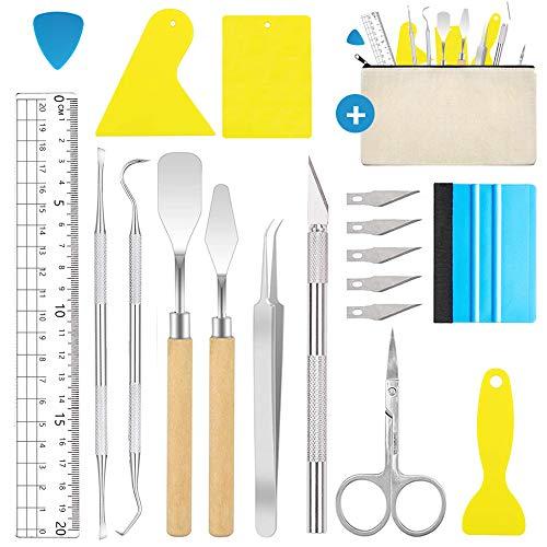 Juego de 18 herramientas de vinilo, herramientas para plóter de acero inoxidable, accesorios para manualidades, cameos, rótula