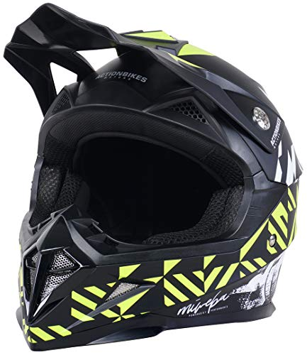 Actionbikes Motors Kinder Cross Helm Hornet ECE 22/05 Norm - Straßenzulassung - Motocross - Crosshelm - Downhill - Fullface (Grün, M)