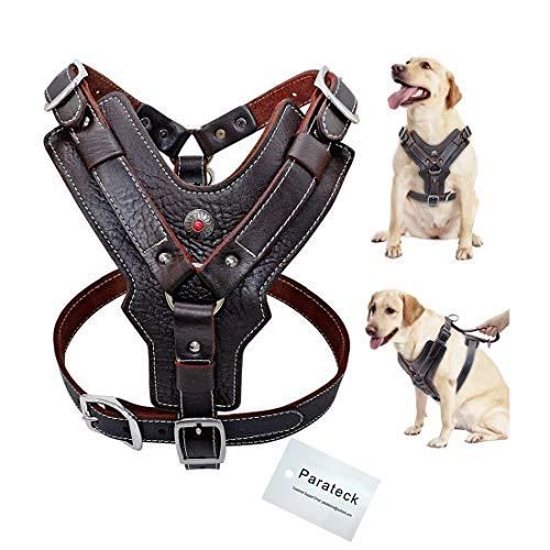 Wishdeal Hundegeschirr aus echtem Leder, langlebig, verstellbar, für große Hunde, schnelle Kontrolle mit Griff, Haustierzubehör für K9 Labrador