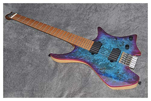 WScheng®. Headless gepflokende Bünde E-Gitarre Blue Eye Pappel Furnier Flamme Ahorn Top Gebratene Flammenhalsgitarre (Size : 37 inches)