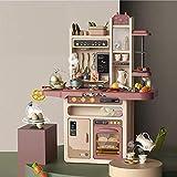 VASOYA ENTERPRISE Kids Kitchen Playset, with Realistic Lights & Sounds Play Sink with Running Water, Dessert Shelf Toy & Kitchen Accessories Set (65 pcs)