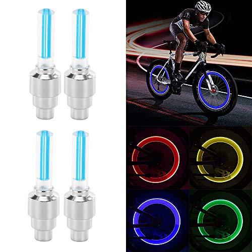 Sunsbell Sunsbell LED-Radlicht, 4PCS LED-Blitzreifen Radventilkappenlicht für Auto Fahrrad Motorrad Radlicht Reifen (Blau)