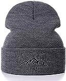 Miwaimao Sombrero de punto de la gama de montaña algodón bordado casual gorros hombres mujeres de punto sombrero de invierno sólido hip hop capó unisex gorra