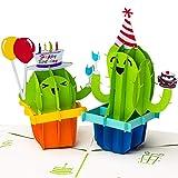 PrimePopUp | 3D Geburtstagskarte, Happy Birthday mit Kakteen, Pop up Karte, Grußkarte, Glückwunschkarte zum Geburtstag, Kaktus mit Luftballon, Geschenkkarte, Happy Birthday Card, Geburtstagsbillet