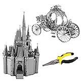 sac taske シンデレラ城 かぼちゃの馬車 メタリック ナノパズル 立体 3D & ラジオペンチ (2種セット)