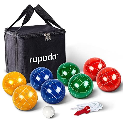 Ropoda - Set per gioco di bocce con 8 bocce da 90 mm, custodia e corda di misurazione per cortile, prato, spiaggia e altro (per 4-8 persone)