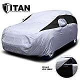 Titan Lightweight Car Cover. Mid-Size SUV. Compatible with Ford Explorer, Jeep Grand Cherokee, and More. Waterproof Cover Measures 206 Inches and Includes a Driver-Side Door Zipper.