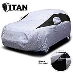 SUV Cover for Ford Explorer, Kia Sorento, GMC Acadia, and More Waterproof Sport Utility Vehicle Cover with Reflective Sunscreen for UV Protection for Outdoor- Indoor Car Cover Too Driver Door Zipper for Easy Access and Click Close Straps Keep Cover i...