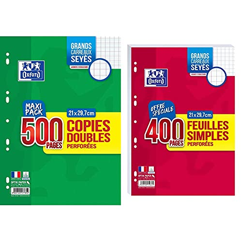 Oxford Copies Doubles 500 Pages A4 Perforées 90g Grands Carreaux Seyes & Lot de 400 Pages Feuilles Simples Grands Carreaux Seyès Format A4 (21x29,7cm) Perforées