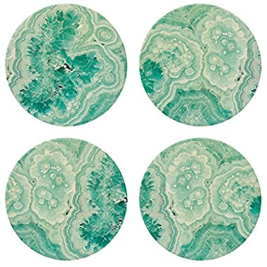 CoasterStone NC05 Teal Agate  Absorbent Coasters (Set of 4), 4-1/4 , Multicolor